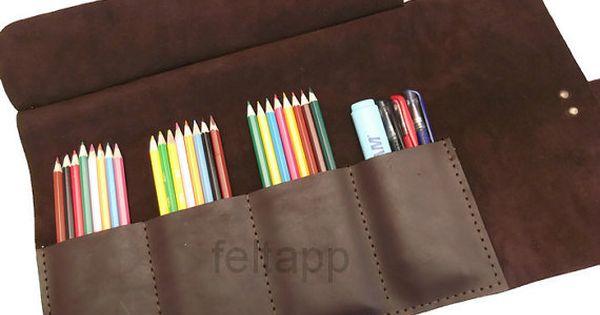 Cuir stylo cas rouleau de crayon plumier paint brush - Rouleau peinture effet cuir ...