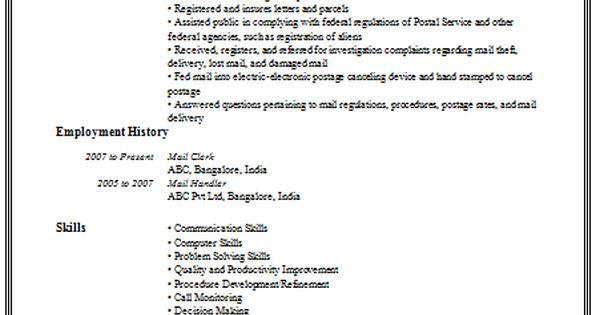 mail clerk resume sample 2 career pinterest cv
