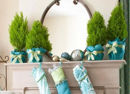 Potted miniature trees and aqua blue stockings for a Turquoise Holiday Story