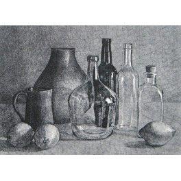 Limones Y Botellas Dibujo De Naturaleza Muerta Dibujo Sombreado Dibujos Realistas