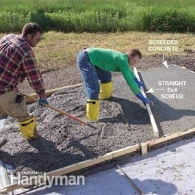 Form And Pour A Concrete Slab Concrete Slab Concrete Concrete Forms