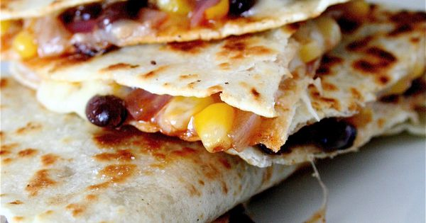 black bean quesadillas - a meatless main dish Made this tonight but