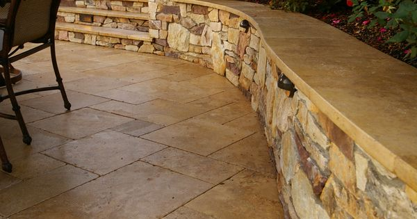 Travertine Cap On Seat Wall Patios Pinterest