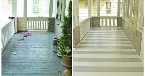 Striped flooring on a porch adds so much character! See project details