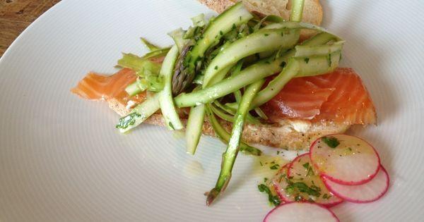 Ratinaud smoked salmon with shaved asparagus salad / champagne ...