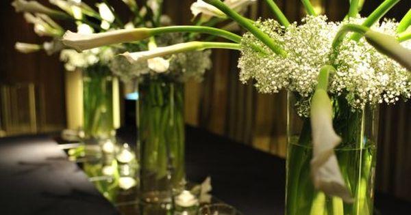 Calla lilies with baby breath wedding decoration ideas