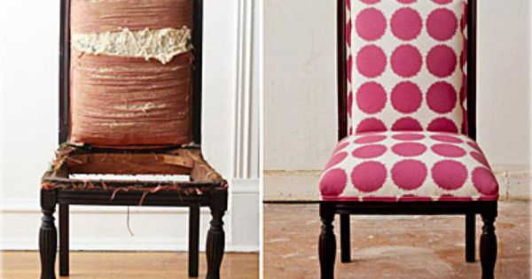 Old chair (left) new cute pretty pink polka dot chair (right)