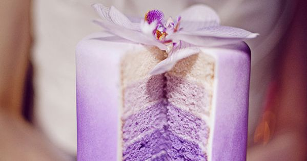 purple layered cakes, with each layer in different shade, that gives it