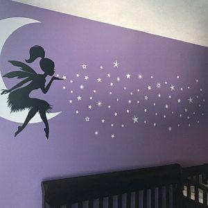 WALL STICKERS MURALI Fata sulla Luna stelle casa muro adesivo fantasy fairy