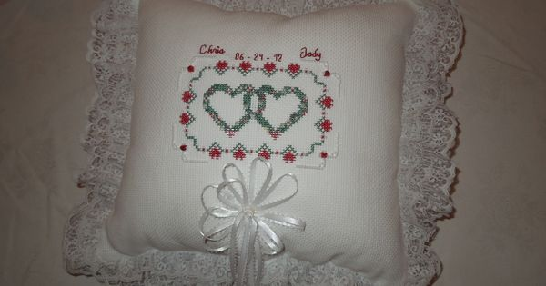 Traditional wedding ceremony ideas: Wow! a double cross-stitched wedding ring pillow, hand made ...
