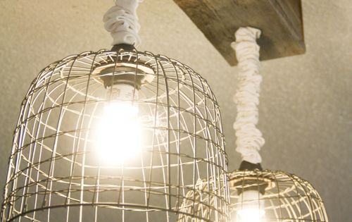 Make your own light fixtures wire basket lights and - Make your own light fixtures ...