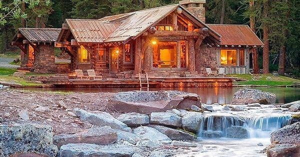 Log Cabin With Waterfall Our Home Down A Country Road