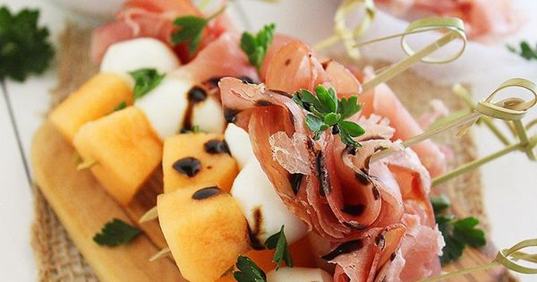 Melon, Proscuitto and Mozzarella Skewers. A healthy snack, an elegant appetizer, an