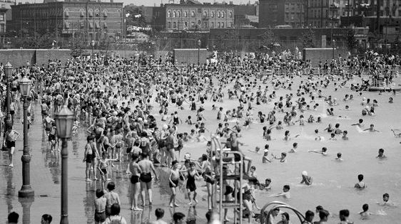 Bathers in Brooklyn celebrated the return of the McCarren Park Pool on