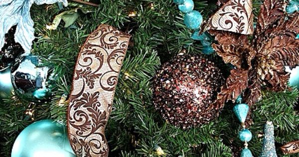 Christmas Decorations In Blue And Brown : Tiffany blue brown christmas tree trees