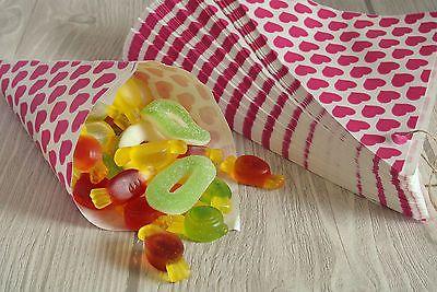 100 Papierspitztüten Herzen pink 19cm Dreieckstüten CandyBar Tüten für Bonbons