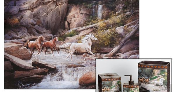 Horse Canyon Shower Curtain Bath Set Combo Bathroom Pinterest Bath Bath Room And