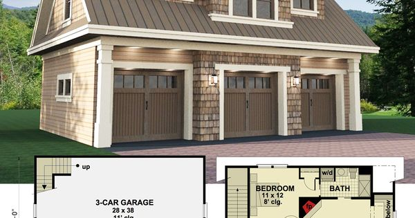 Plan 14631rk 3 car garage apartment with class carriage for Garage apartment plans menards