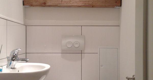 modern trifft rustikal holz balken regal g ste wc home sweet home pinterest toilet. Black Bedroom Furniture Sets. Home Design Ideas