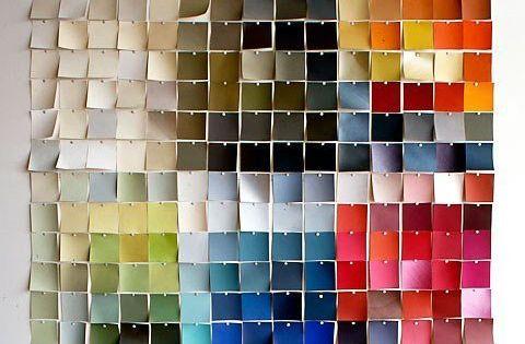 use paint chips to create wall art chantillons de couleurs peinture id e et couleurs de. Black Bedroom Furniture Sets. Home Design Ideas