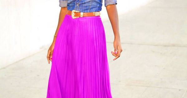 bright colored maxi skirt with denim button up just my