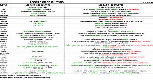 Calendario del huerto huerta y hortalizas siembra y for Asociacion de hortalizas