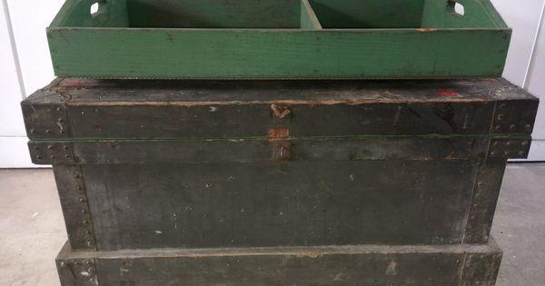 Industrial Voyager Solid Wood Military Foot Locker Trunk