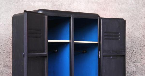 vestiaire armoire m tal vintage industriel relook bleu relooking pinterest vintage. Black Bedroom Furniture Sets. Home Design Ideas
