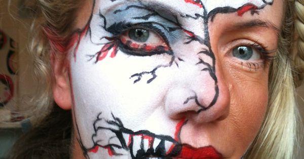 Half face paint Zombie | Face painting ideas | Pinterest ...
