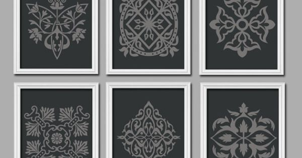 Damask Wall Art Canvas Or Prints Black Gray Bedroom Pictures Bathroom Artwork Swirl Scroll