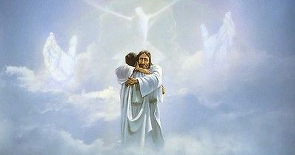 Danny Hahlbohm REUNION 8x10 print Welcome Home Jesus embraces man in heaven
