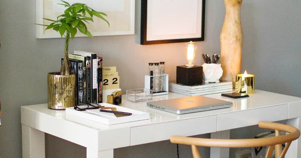 How to Style a West Elm Parsons Desk // white lacquer //