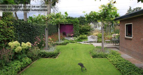 Tuin met gras en strakke borders tuin pinterest gras tuinen en tuin - Moderne tuin ingang ...