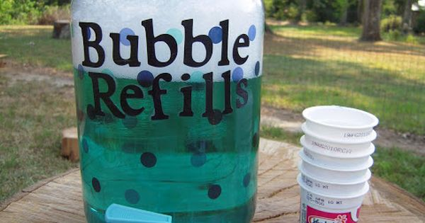 To fill up your Bubble Refill Station, here are two homemade bubble
