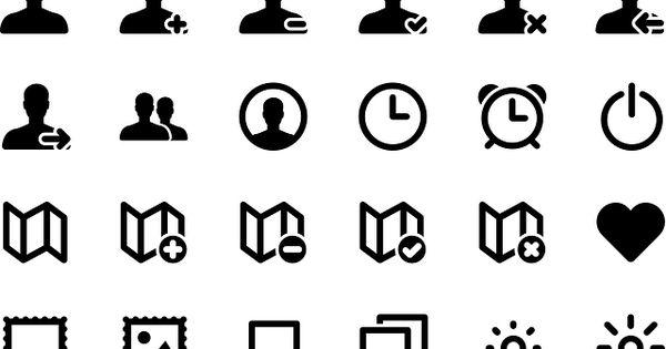 icon set  account  time  symbol  alarm  map  set  web
