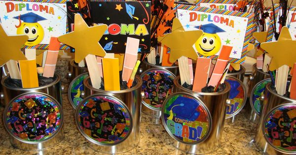 Cheap Centerpieces Using Paint Cans Paint Sticks Paint Sample Strips In School Colors And