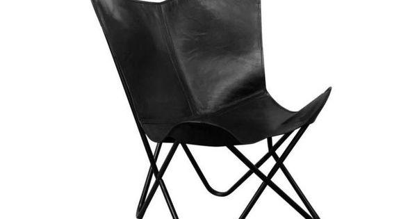 Butterfly Sessel Schwarz Echtleder in 2020 | Butterfly chair