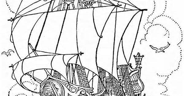 Pirate Ship, : A Big Pirate Ship Galleon Coloring Page