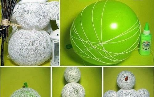 Bonhomme De Neige Avec Ballon De Baudruche Et Laine Arts