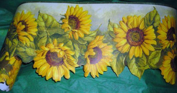 Vintage Sunflower Wall Decor : Vintage wallpaper border sunflowers decorative edge