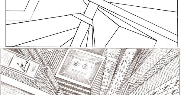 Perspective Drawing City Example