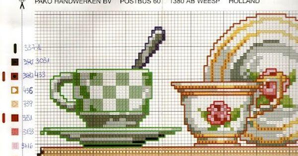 Quadro 4 juegos de te y cafe punto de cruz pinterest for Cocinas punto com