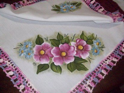 Imagenes Flores Pintadas En Tela Imagui Manteles