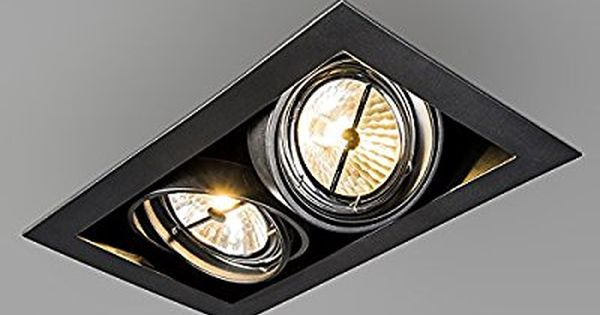 Qazqa Design Moderne Spot A Encastrer Encastrables Oneon 111 2 Noir Metal Rectangulaire Compatible Pour Led G53 Max 2 Einbauspots Lampen Einbaustrahler