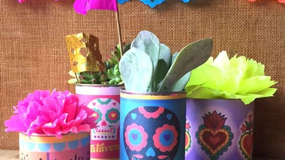 Easy make diy day of the dead centerpiece calavera tin for Day of the dead craft supplies