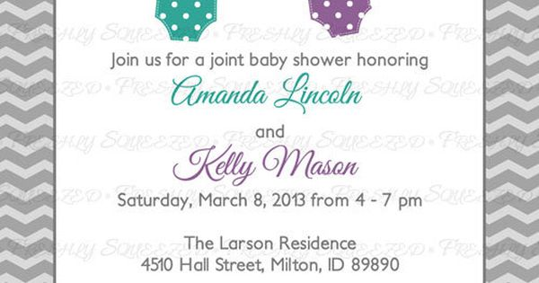 Joint Baby Shower Invitation Polka Dot By