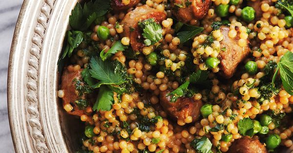 Israeli Couscous Risotto with Peas, Sausage + Parsley ...