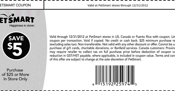 5 off 25 at PetSmart coupon via The Coupons App The