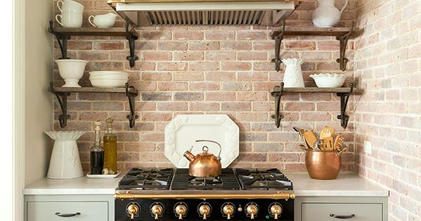 Kitchen with brick wall and la cornue stove designed by jenny wolf interiors kitchens - La cornue kitchen designs ...