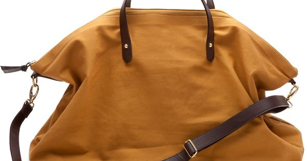 Weekend bag - a canvas bag with leather straps/trim or a tan